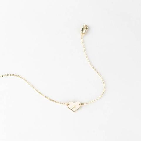 925 Sterling Silver Personalized Heart Initial  Bracelet