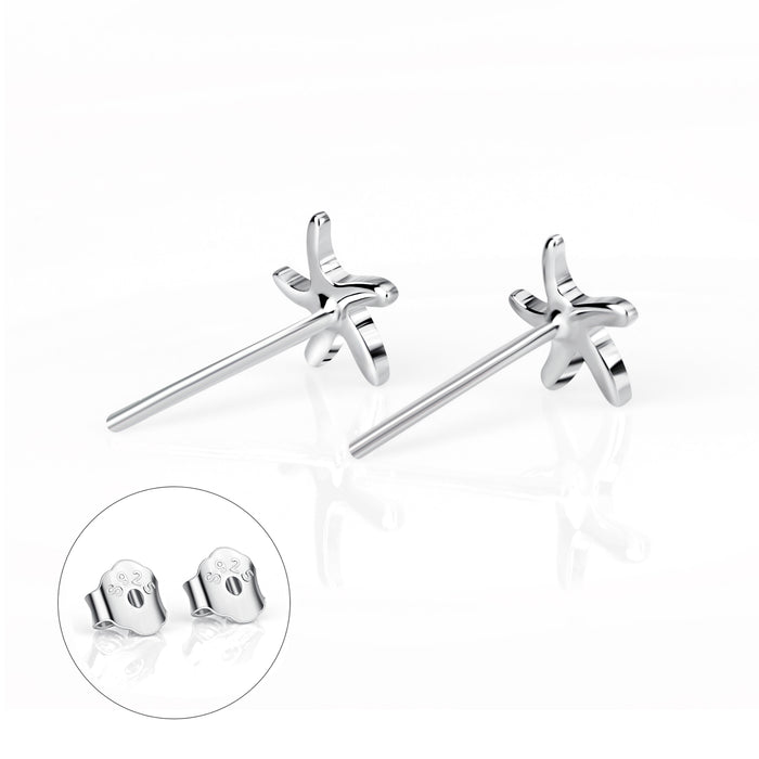 925 Sterling Silver Lovely StarFish Stud Earring