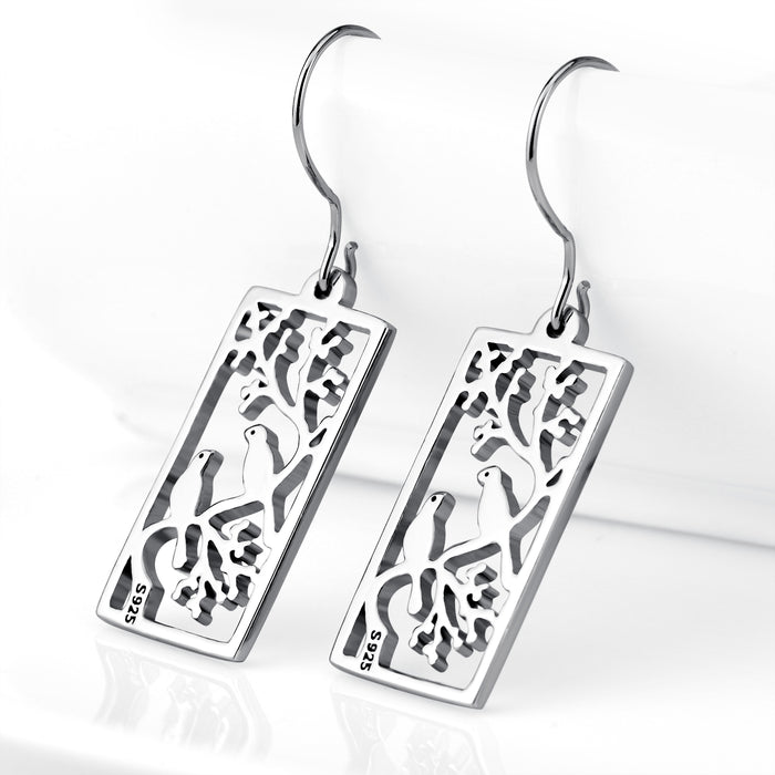 925 Sterling Silver Birds Branch Countryside View Good Luck Drop Earrings for Women Daughter Girlfriend