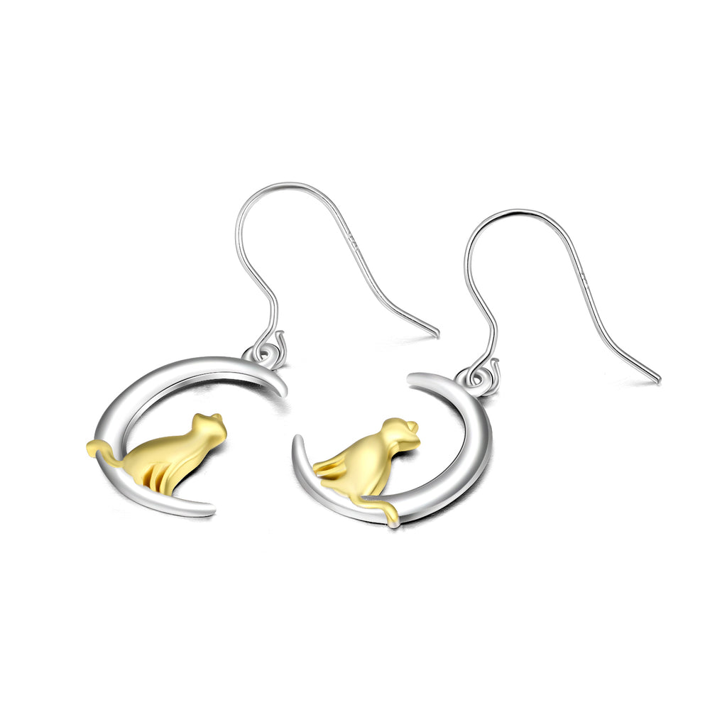 925 Sterling Silver Crescent Adorable Cat Drop Earrins