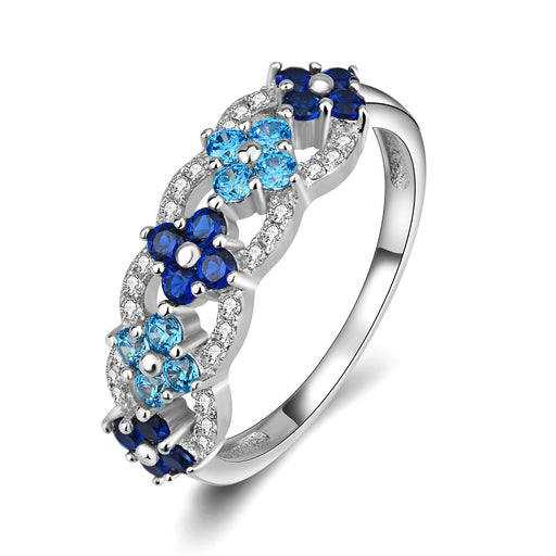 925 Sterling Silver Blue Charm Shinning Jewelry Ring Gift for Woman
