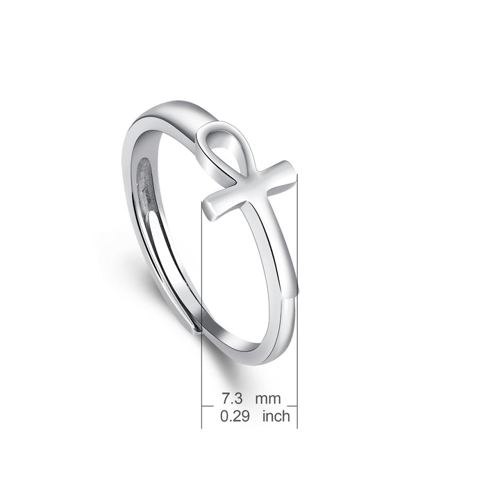 925 Sterling Silver White Gold Cross Knot Crucifixion Ring
