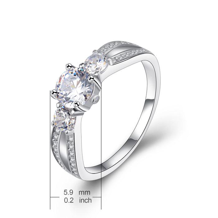 925 Sterling Silver Shinning Zircon Wedding Ring for New Couples Gift for Woman or Girlfriend