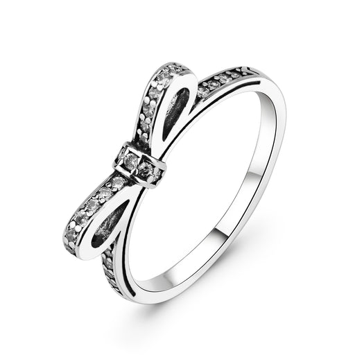 925 Sterling Silver Bow Ring Wedding Ring Jewelry for Girlfriend