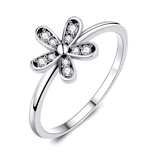 925 Sterling Silver Flower Jewelry Ring for Girls and Woman