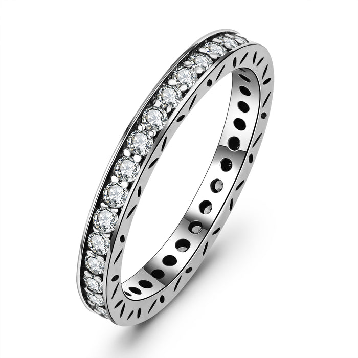 925 Sterling Silver Jewelry Ring Shinning Zircon Wedding Ring for New Couple