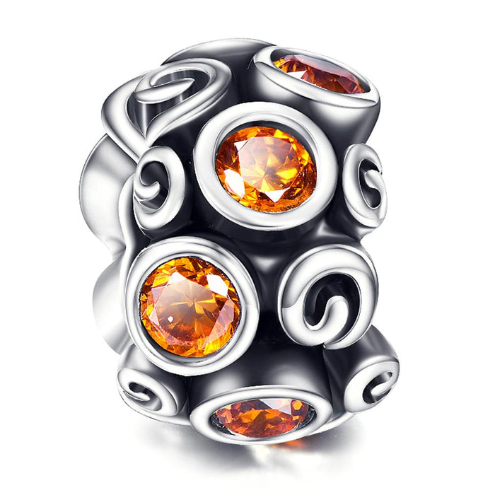 Fashion 925 Sterling Silver Orange Cubic Zirconia Bracelet Charm For Bracelet and Necklace