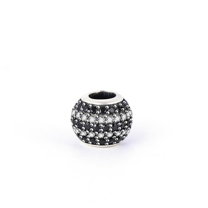 Fashion Black&White Cubic Zirconia Sterling Silver Charm For Bracelet and Necklace