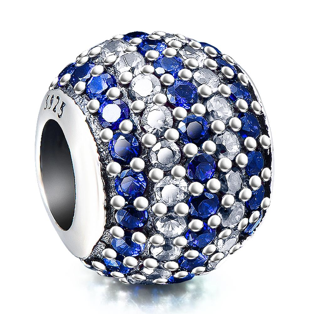 Fashion Blue&White Cubic Zirconia Sterling Silver Charm For Bracelet and Necklace