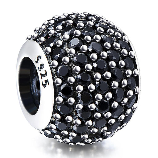 Fashion Black Cubic Zirconia Sterling Silver Charm For Bracelet and Necklace