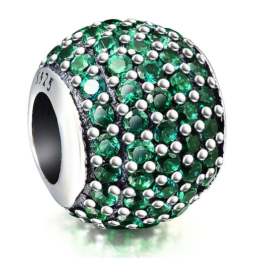 Fashion Green Cubic Zirconia Sterling Silver Charm For Bracelet and Necklace