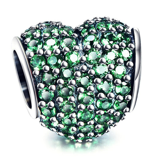 925 Sterling Silver Green Cubic Zirconia Heart Charm Fit for Bracelet and Necklace