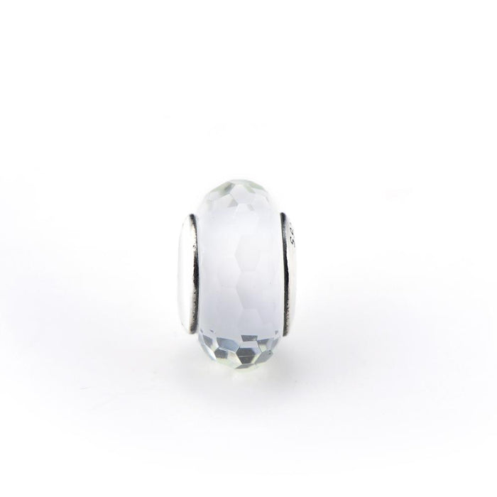 Diamond Faced White Glass Sterling Silver Charm for Bracelet and Necklace