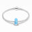 925 Sterling Silver Blue Built-in Diamond Glass Charm for Bracelet and Necklace