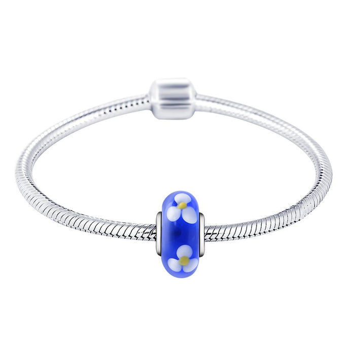 925 Sterling Silver Flower Blue Glass Charm for Bracelet and Necklace