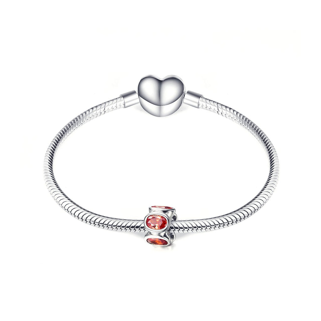 Fashion 925 Sterling Silver Red Cubic Zirconia Bracelet Charm For Bracelet and Necklace
