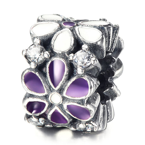925 Sterling Silver Purple/White Flowers Rhinestones Charm For Bracelet and Necklace