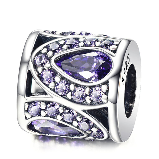 925 Sterling Silver Purple Liquid Cubic Zircon Bracelet Charm For Bracelet and Necklace
