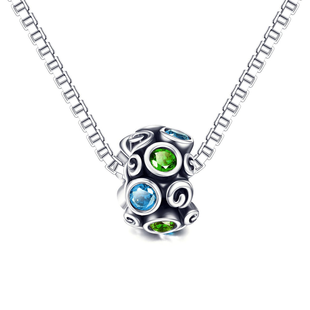 925 Sterling Silver  Fashion Colorful Cubic Zircon Bracelet Charm For Bracelet and Necklace