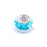 925 Sterling Silver Flower Cyan Blue Glass Charm for Bracelet and Necklace