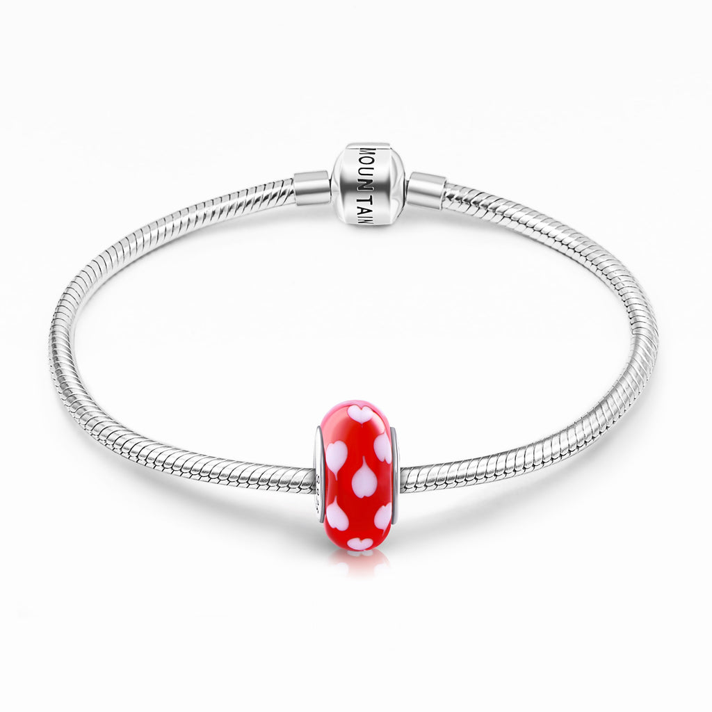 925 Sterling Silver Hearts Red Glass Charm for Bracelet and Necklace