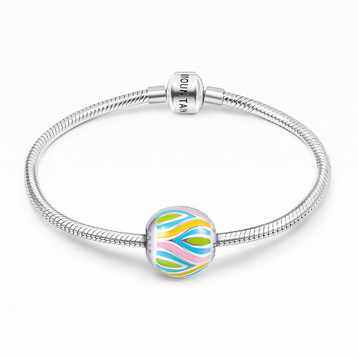 925 Sterling Silver-Abstract Painting Craft Colorful Charm for Bracelet and Necklace