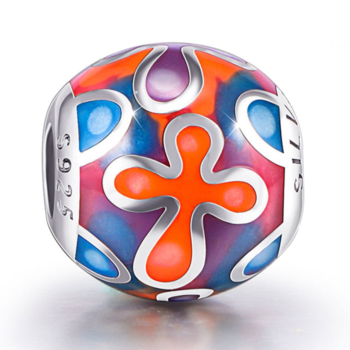Abstract Painting Craft Colorful Charm for Bracelet and Necklace 925 Sterling Silver
