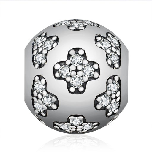 Rhinestones 925 Sterling Silver Charm For Bracelet and Necklace