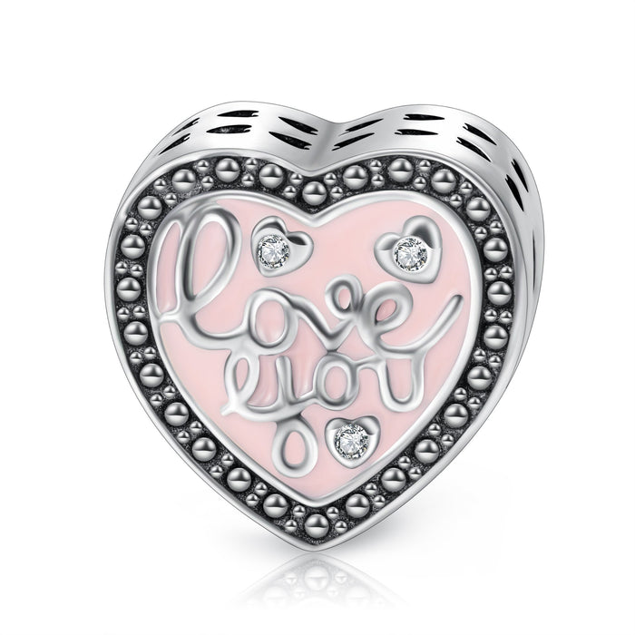 """Love You"" Pink Sterling Silver Heart Charm Fit for Bracelet and Necklace"