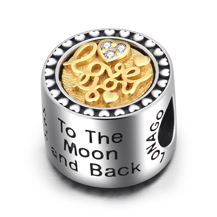 """Love you""  925 Sterling Silver Two-Tone Round Charm"