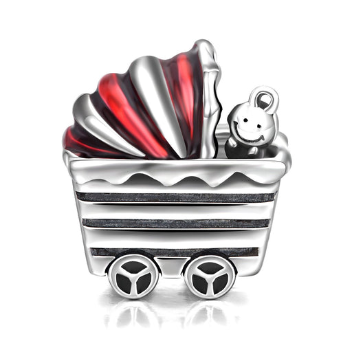 Cute Baby Carriage Sterling Silver Charms for Bracelet and Necklace