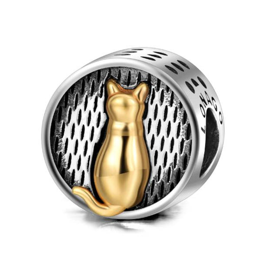 Sterling Silver Cat Figure Charms Fit for Bracelet and Necklace