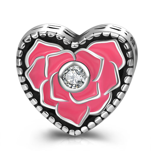 Sterling Silver Rose Love Heart Charm Fit for Bracelet and Necklace