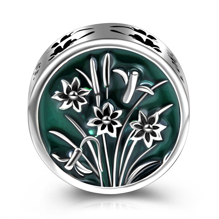 Sterling Silver Flowers Green Charm For Bracelet and Necklace