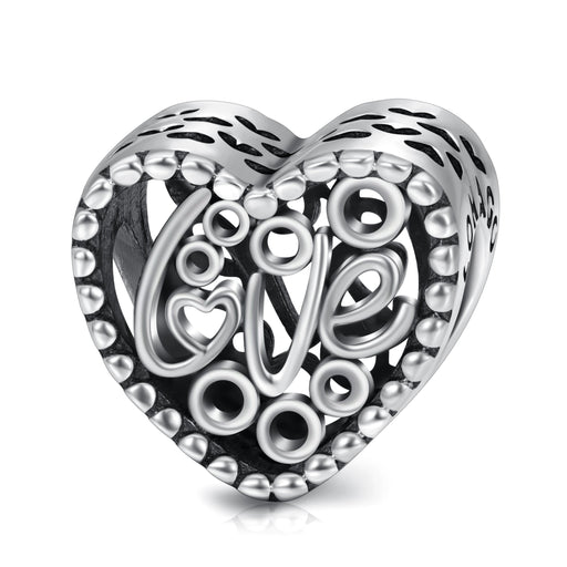 Sterling Silver Love Heart Charms Fit for Bracelet and Necklace