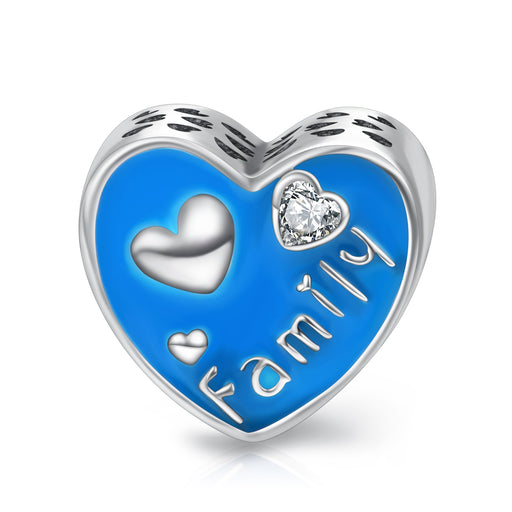 Sterling Silver Family Love Heart Charms for Bracelet and Necklace