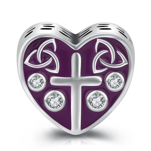Sterling Silver Purple Heart Cross Charm for Bracelet and Necklace