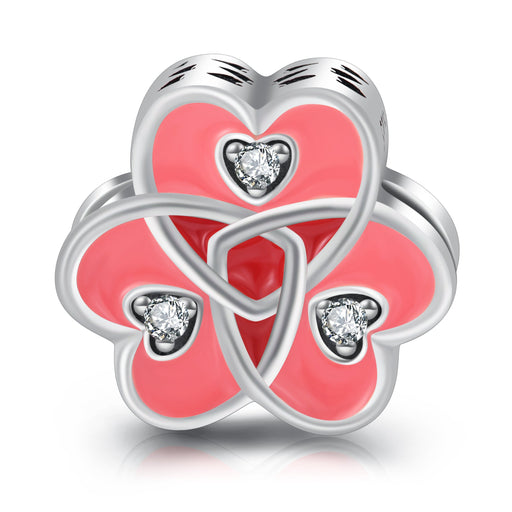 Sterling Silver Triple Heart Love Pink Charm for Bracelet and Necklace