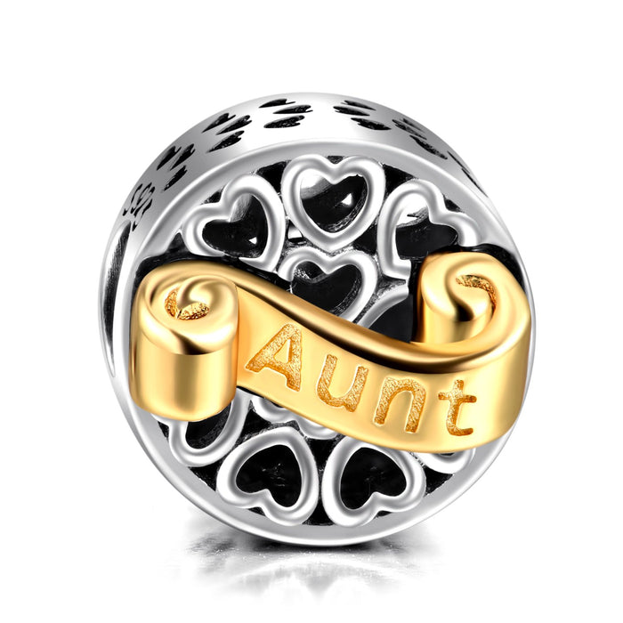 "925 Sterling Silver  Family Gift ""Aunt"" Two-Tone Round Charm"