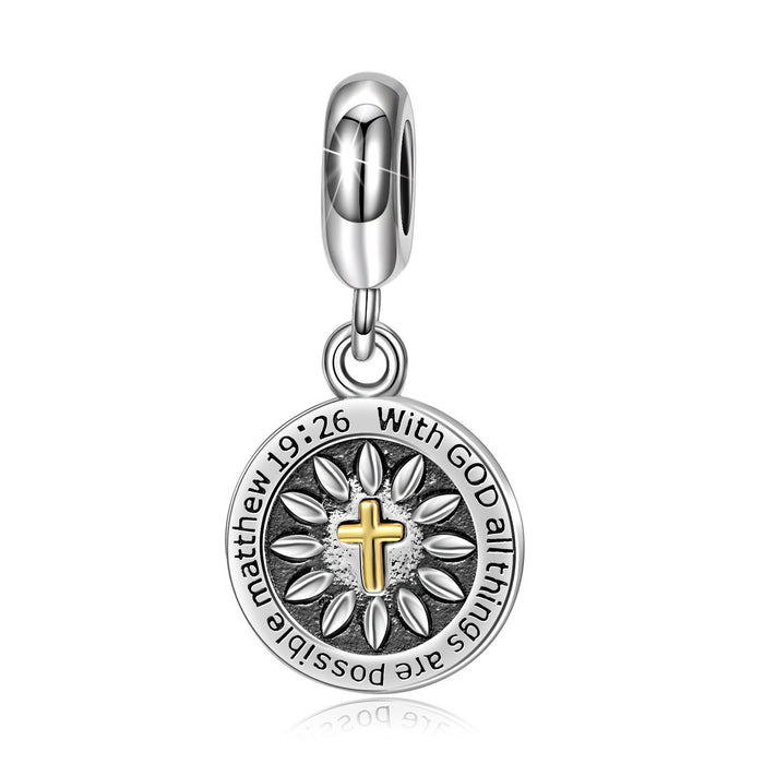 Cross God Belief Charm  925 Sterling Silver