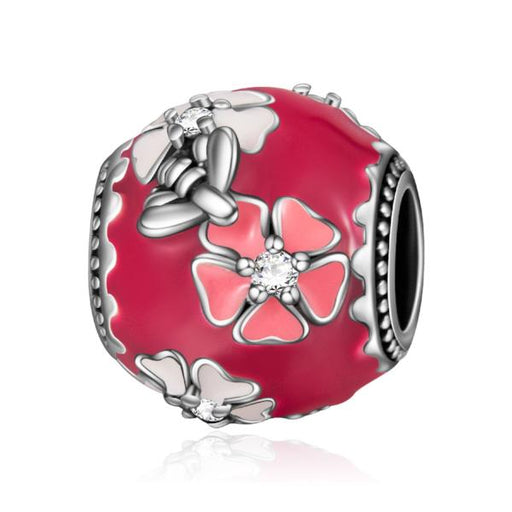 Sterling Silver Pink And White Flowers Charm Fit for Bracelet and Necklace