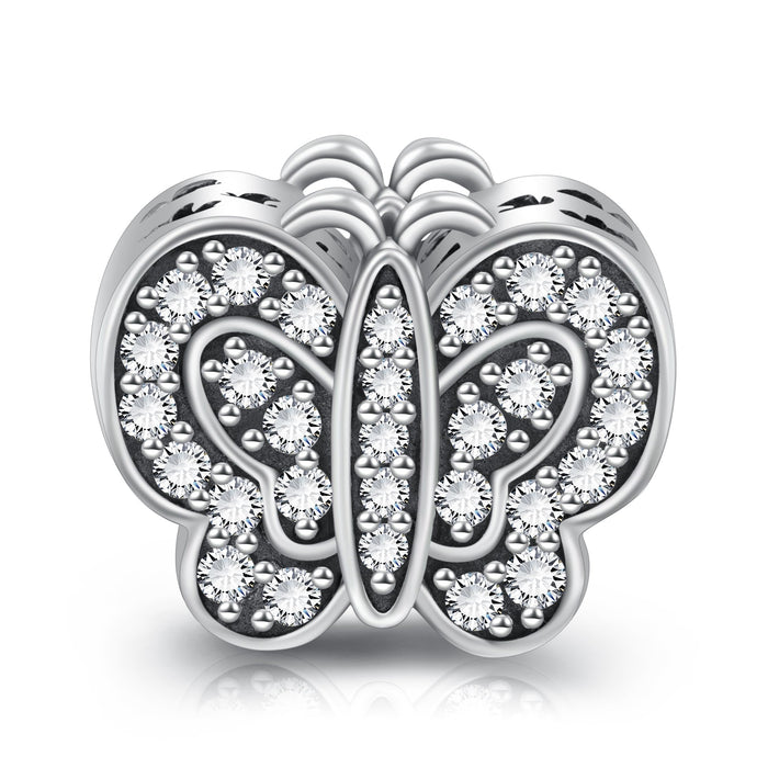 Sterling Silver Rhinestone Butterfly Charm for Bracelet and Necklace