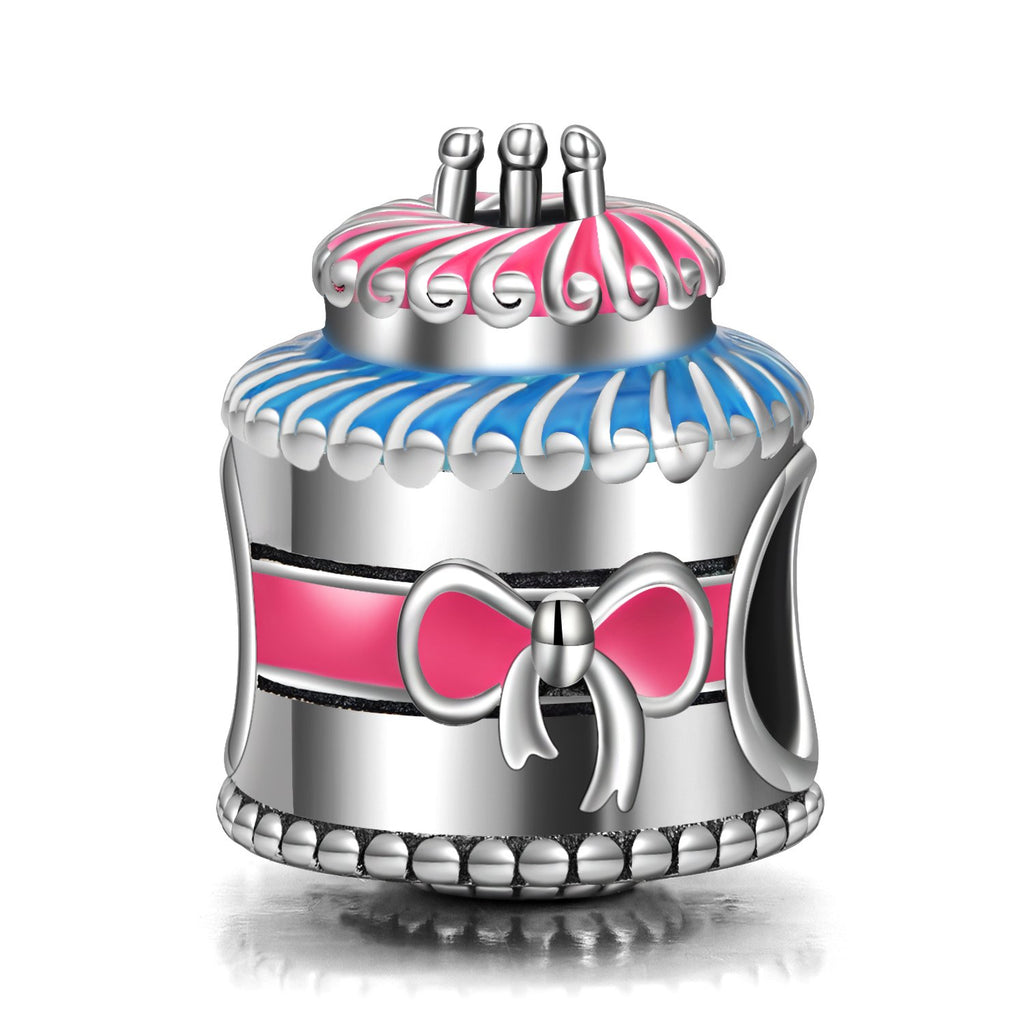 Sterling Silver Birthday Cake Charm Fit for Bracelet and Necklace