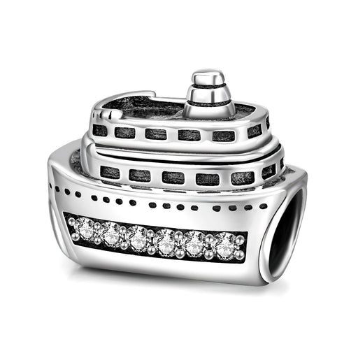 Cruise Ship Charm for Bracelet and Necklace in 925 Sterling Silver