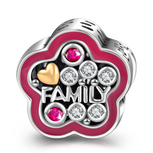 Sterling Silver Family Flower Charm for Bracelet and Necklace