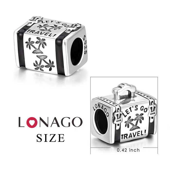 925 Sterling Silver  Suitcase Charm for Bracelet and Necklace