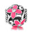 Sterling Silver Pink Flower Charm for Bracelet and Necklace