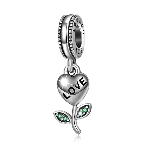 Sterling Silver Love Hear Flower Charm Fit for Bracelet and Necklace