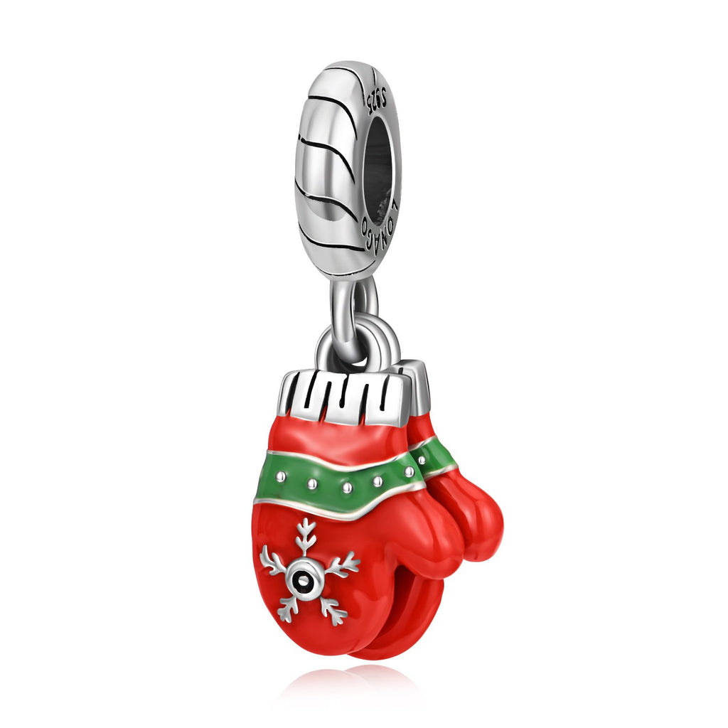 Christmas  925 Sterling Silver Red Gloves Charm