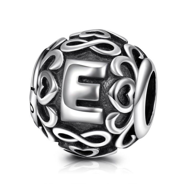 925 Sterling Silver Letter E Charm